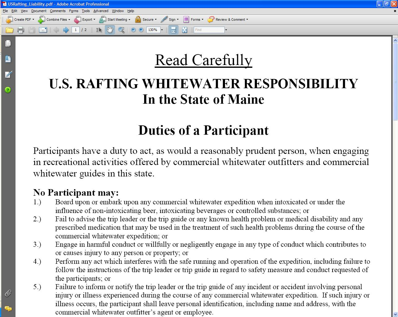 US Rafting Liability Form